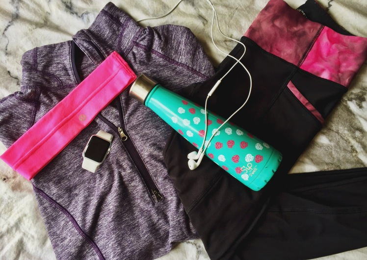 purple lululemon sports jacket hot pink headband white apple watch pink exercise leggings picture